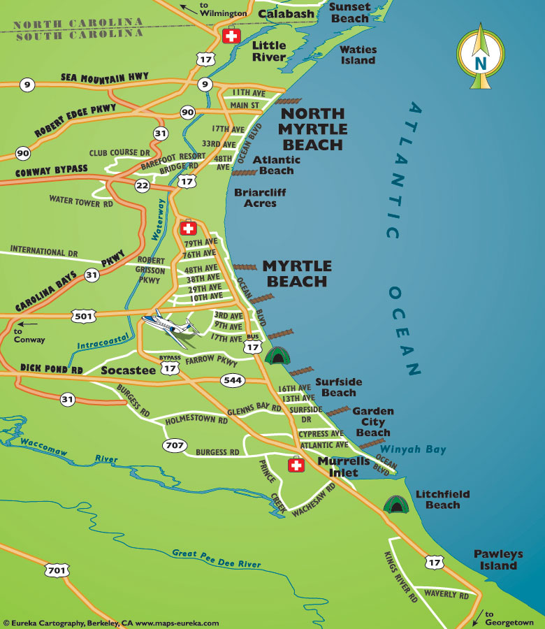 Map of Myrtle Beach Area